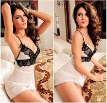 Sexy Womens Intimates White Soft Mesh Black Lace Chemise Nightie Nightwear Lingerie Nightdress Sleepwear Dress H070