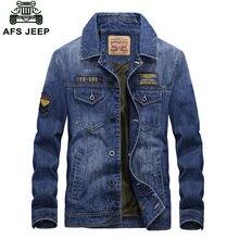 2018 AFS Jeep Marque hommes casual jeans veste multi-poches Denim Veste  automne outwear manteau mâle manteau jaqueta masculina s. 8f4d018d804e