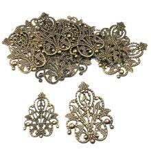 Enfeites ocos de filigree para artesanato, 40mm, 20 peças, enfeites ocos, acessórios para joias, ornamentos com tom de bronze