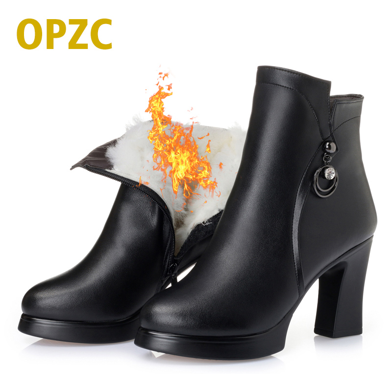 OPZC Women Shoes High Heels genuine leather Boots Round Toe Square heel shoes Fashion ladies Casual Shoes zipper Boots Plus Size retro european new fashion winter zipper mens boots round toe genuine leather mid heel male shoes footwear thick heel plus size