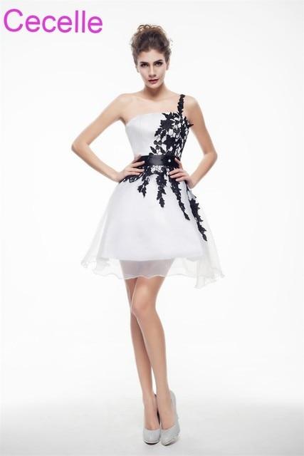 White and Black Short Cocktail Dresses 2019 One Shoulder Girls Semi Formal  Short Prom Party Dresses Robe De Cocktail Simple d293afa75