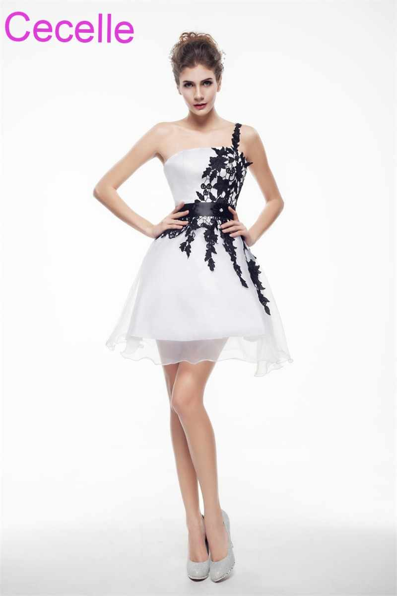 4316a84f06cd White and Black Short Cocktail Dresses 2019 One Shoulder Girls Semi Formal  Short Prom Party Dresses