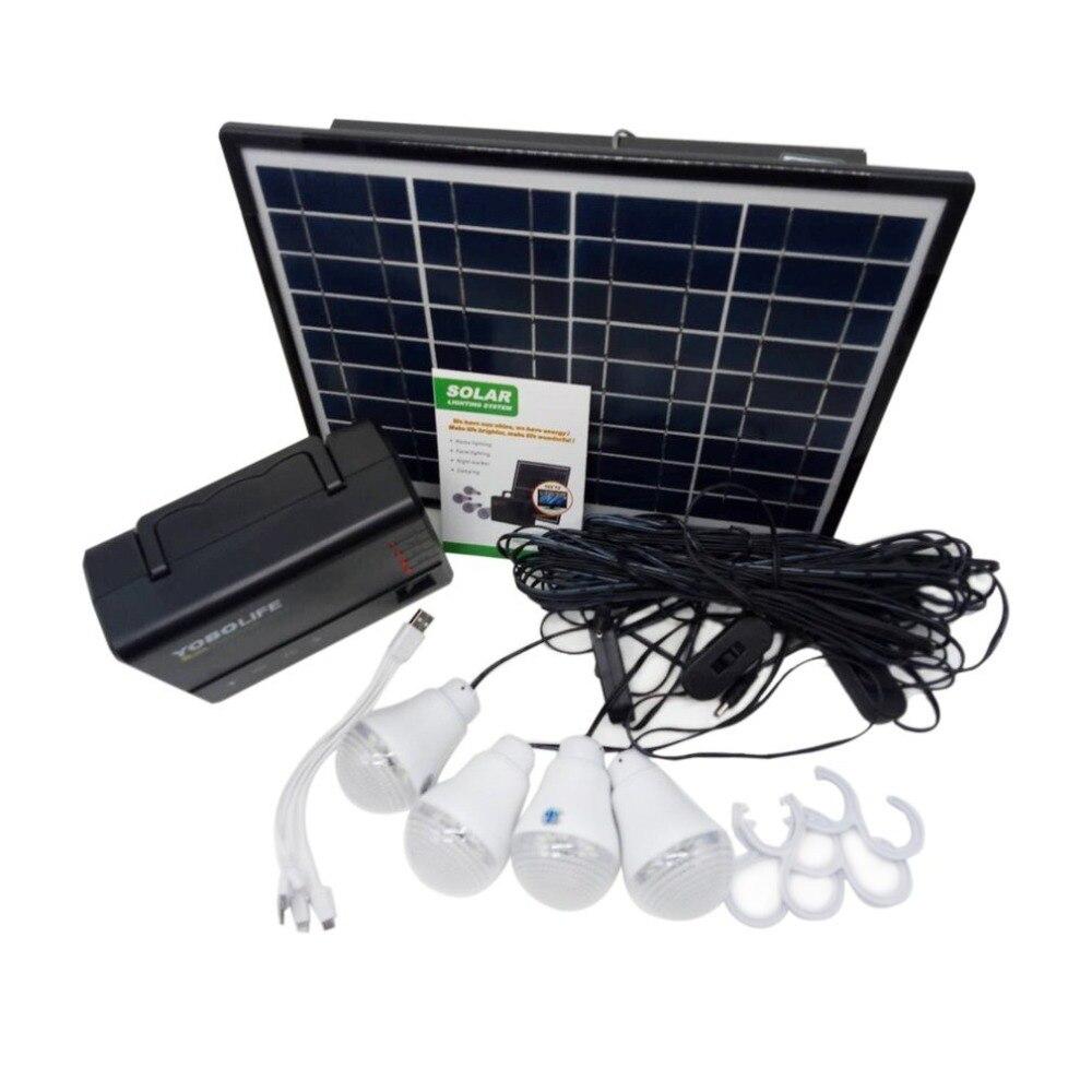 Panneau solaire Puissance Générateur avec lumière led Ampoule chargeur usb Portable Générateur De Poche boîtier d'alimentation De Stockage Kit De Système