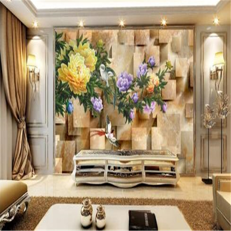 Peony Flower Mural Wallpaper for Walls 3D Birds Marble Wall Covering Living Room Home Decor Deep Embossed 3D Brick Chinese Style