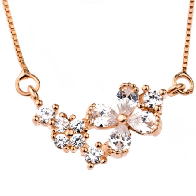 GNX0228 Jewerlry de Auténtica Plata de Ley 925 Cubic Zirconia Colgante de La Flor Joyería de Las Mujeres Collar de Oro Rosa Collar Plateado