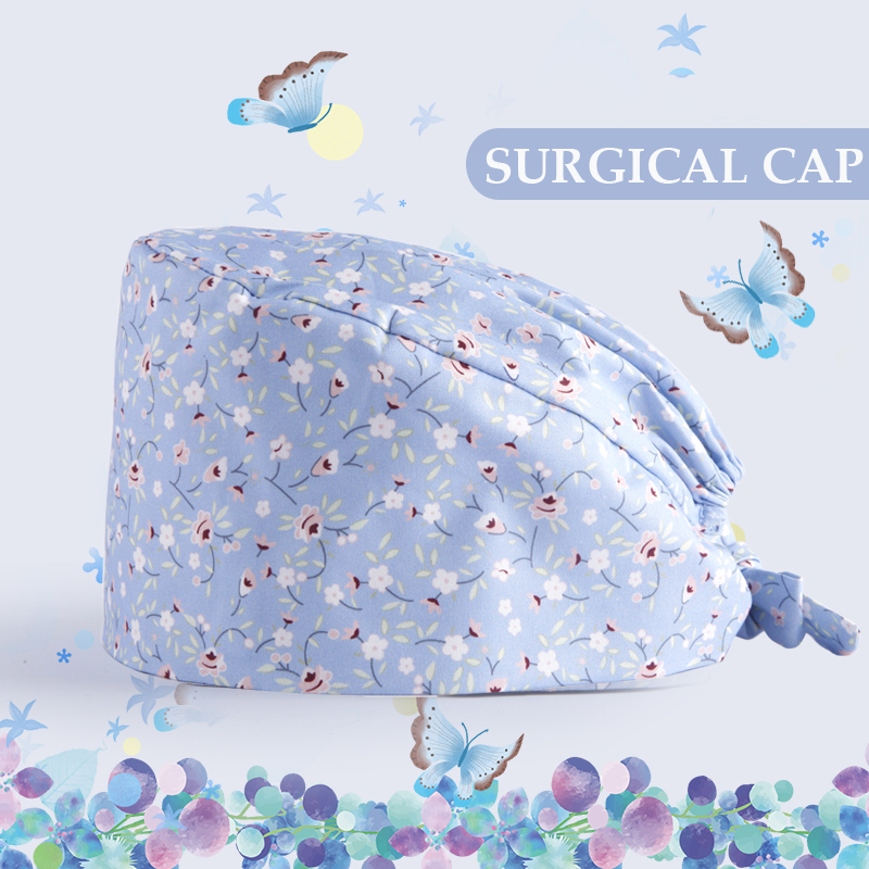 Women's Surgical Cap Nursing Medical Caps Scrub Hat 100% Cotton With Sweatband Tieback Dentist Hats