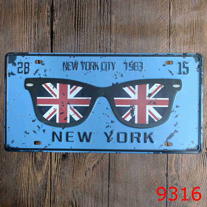 15x30cm Car License Plates Number HISTORIC NEW YORK CITY 1983 Retro Vintage Metal tin Signs Wall Art Craft Painting