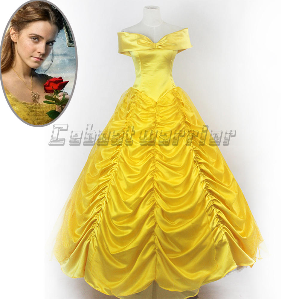 2018 New Beauty and the Beast Princess Belle adults cosplay costume yellow dress Custom made