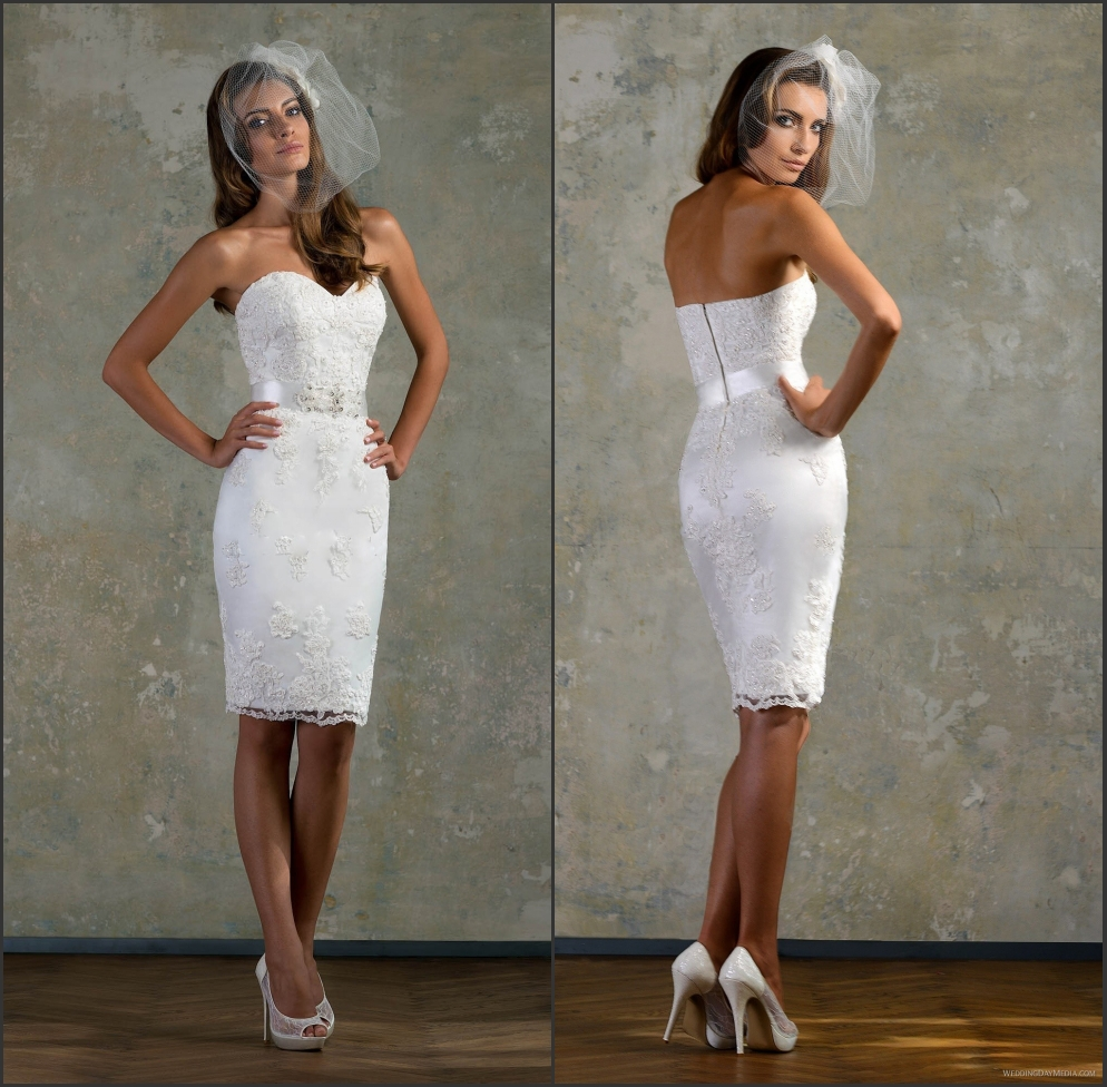 Hot Lace White Little Bridal Gown Sweetheart Short Fitted