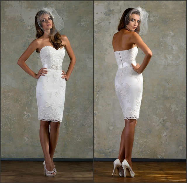 Hot Lace White Little Bridal Gown Sweetheart Short Ed Wedding Dresses Knee Length Beaded Belt Sheath