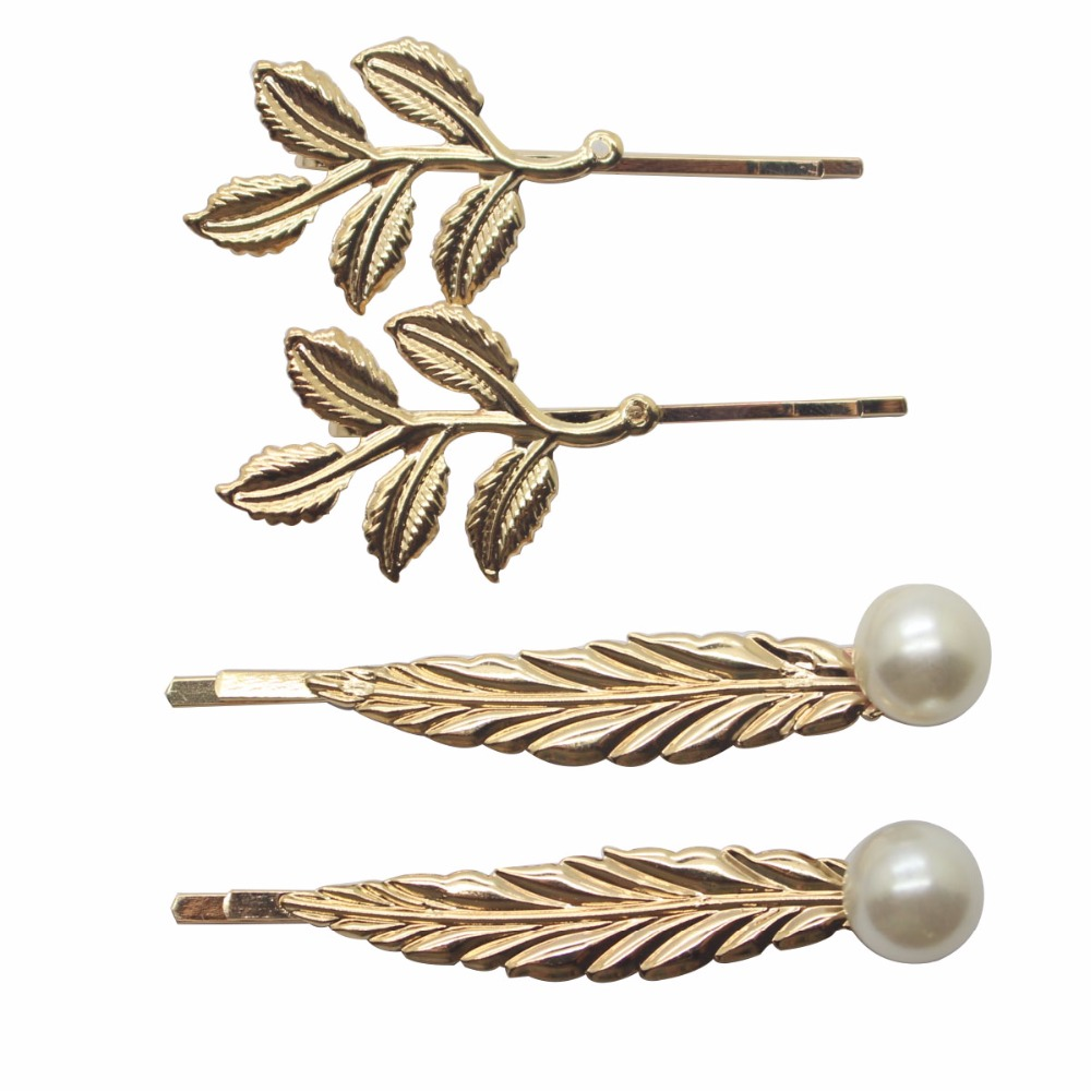 2017 gold leaves hair clips graceful long leaves barrettes bobby pins for women gold hair hair acccessories wholesale