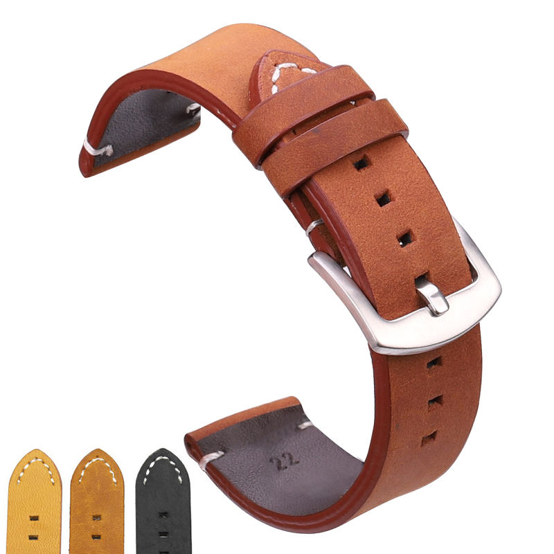 Watchbands 18 20 22mm Italian Genuine Leather Dark Brown Black Man Women Handmade Vintage Wrist Watch Band Strap Metal Buckle все цены