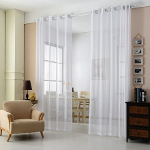 New Top European Solid Tartan Semi-Shade Tulle Curtains Polyester General Pleated Grommet Top or Living Room-A0485