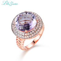 I&Zuan 925 Sterling Silver Big Purple Stone Natural Amethyst Rings for Women Luxury Diamond Fine Jewelry Cocktail Ring 3028P