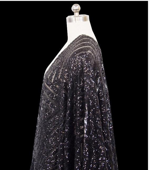 черный блесток ткани