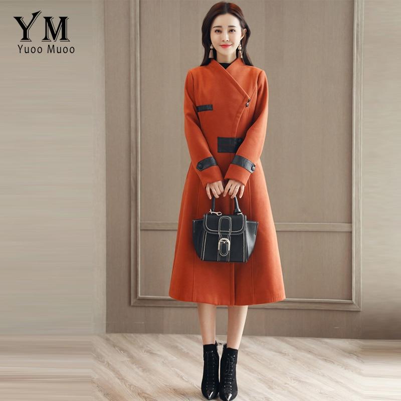 Col Beige Designer down noir Manteaux Solides Casaco orange Outwear rouge Unique Longues Yuoomuoo Femmes De Poitrine Laine Travail Manches Veste Turn SCqpvpw