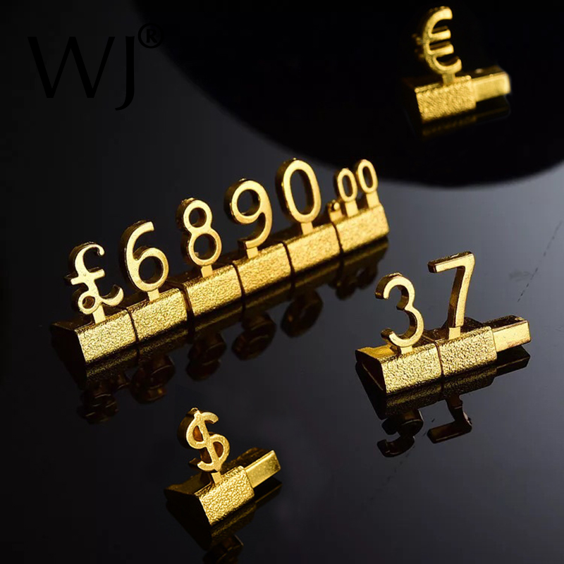 Metal 3D Combined Price Tags Euro Pound <font><b>Dollar</b></font> Label Camera <font><b>Phone</b></font> Jewellery Store Countertop Display Assembly Number Digit Tags image