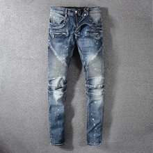 European American Fashion Men Jeans Retro Washed Paint Printed Slim Fit Spliced Designer Denim Cargo Pants Biker