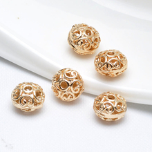 (31909)6PCS 10*7MM 24K Champagne Gold Color Brass Hollow Wheel Spacer Beads Bracelet High Quality Diy Jewelry Accessories
