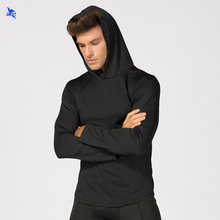 NEW Pullover Running Jacket Solid Color Elastic Hoodie Men Tracksuit Hooded Sweatshirt Quick Dry Fitness Gym Sportswear Clothing