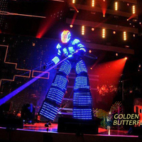 LED Dance Costumes Glowing Helmet 2017 New Robot Suits Luminous Stilts Clothes Talent Show Men's Ballroom LED Clothing