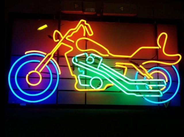 Custom Motorcycle Glass Neon Light Sign Beer Bar