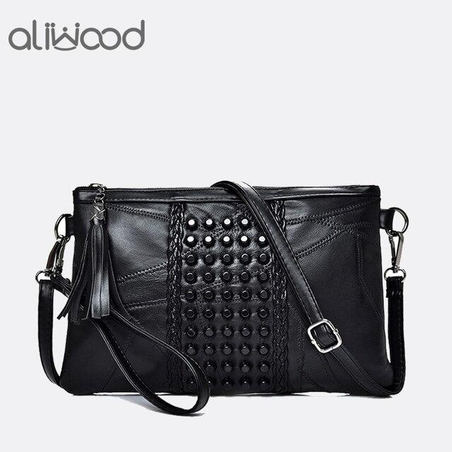 Aliwood Mulheres Genuíno Couro Borla bolsa de Ombro Mensageiro Saco de Diamantes Embreagem Sacos Crossbody Bolsas Bolsa Das Senhoras da Alta Qualidade