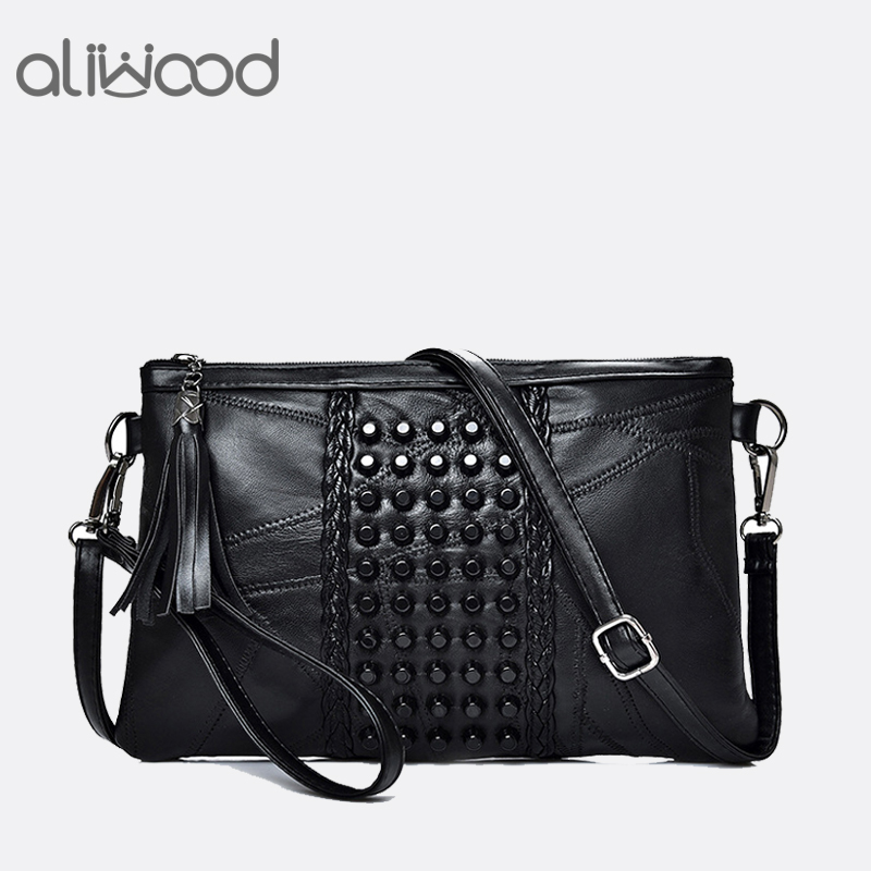 Aliwood Women Genuine Leather Tassel Shoulder Messenger Bag Diamonds Clutch High Quality Ladies Crossbody Bags Handbag Bolsas