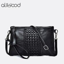 Aliwood для женщин пояса из натуральной кожи кисточкой сумка алмазы клатч высокое качество дамы сумки через плечо Bolsas