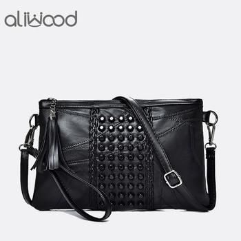 цена на Aliwood Women Genuine Leather Tassel Shoulder Messenger Bag Diamonds Clutch High Quality Ladies Crossbody Bags Handbag Bolsas