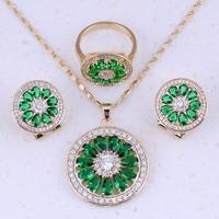 Unusal Green Imitation Emerald White AAA Zircon 18K Yellow Gold Plated Jewelry Sets For Women Trend