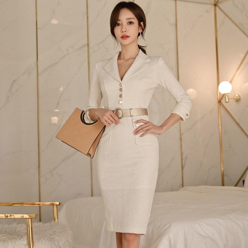 2019 Women Spring Summer Elegant Office Lady Belted Vestidos Work Wear Slim Double Button korean fashion style Dress