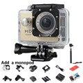 SJ 4000 720 P Mini Camera + um Monopé Com 1080 P Logotipo 30 M ir Pro Esporte DV Capacete Da Bicicleta CAM Micro Câmera fotográfica À Prova D' Água Cam