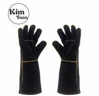 KIM YUAN 013 027L Welding Gloves Heat Resistant For Welder Cooking Baking Fireplace Animal Handling BBQ