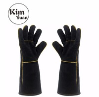 KIM YUAN 013 027L Welding Gloves Heat Resistant For Welder Cooking Baking Fireplace Animal Handling BBQ