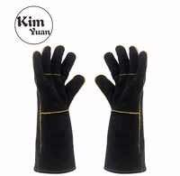 KIM YUAN 013/027L Schweißen Handschuhe Wärme Beständig für Schweißer/Kochen/Backen/Kamin/Tier Handhabung /BBQ Schwarz 14in & 16 zoll