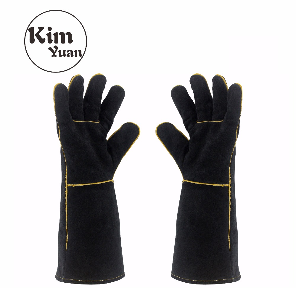 KIM YUAN 013/027L Welding Gloves Heat Resistant For Welder/Cooking/Baking/Fireplace/Animal Handling/BBQ Black 14in&16inches