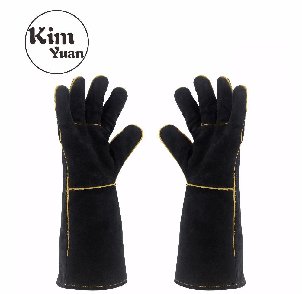 KIM YUAN 013/027L сварочные перчатки термостойкие для сварщика/приготовления пищи/выпечки/камина/обработки животных/барбекю черный 14 дюймов и 16 дю...