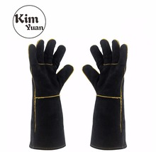 KIM YUAN 013/027L Welding Gloves Heat Resistant for Welder/Cooking/Baking/Fireplace/Animal Handling/BBQ Black 14in&16inches kim yuan 025l cowhide welding gloves heat resistant t for welder cooking baking fireplace animal handling bbq black red 14inches