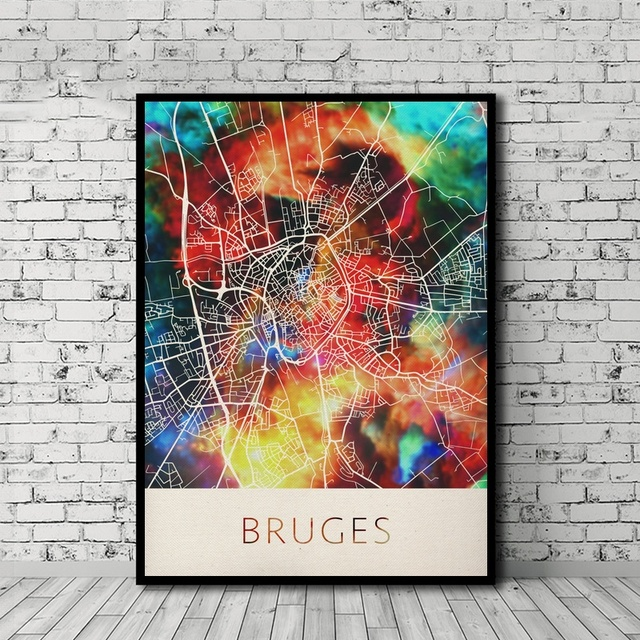 Bruges Watercolor City Map Poster Nordic Style Canvas Print Home Decor No Frame