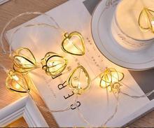 1,5 м 10 светодиодный теплый белый сердечный светодиодный лампочное украшение гирлянда огни Праздничные батареи