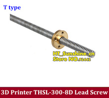 5PCS NEW 3D Printer THSL-300-8D Lead Screw with Copper nut Dia 8MM Thread 8mm Length 300mm T type Lead Screw