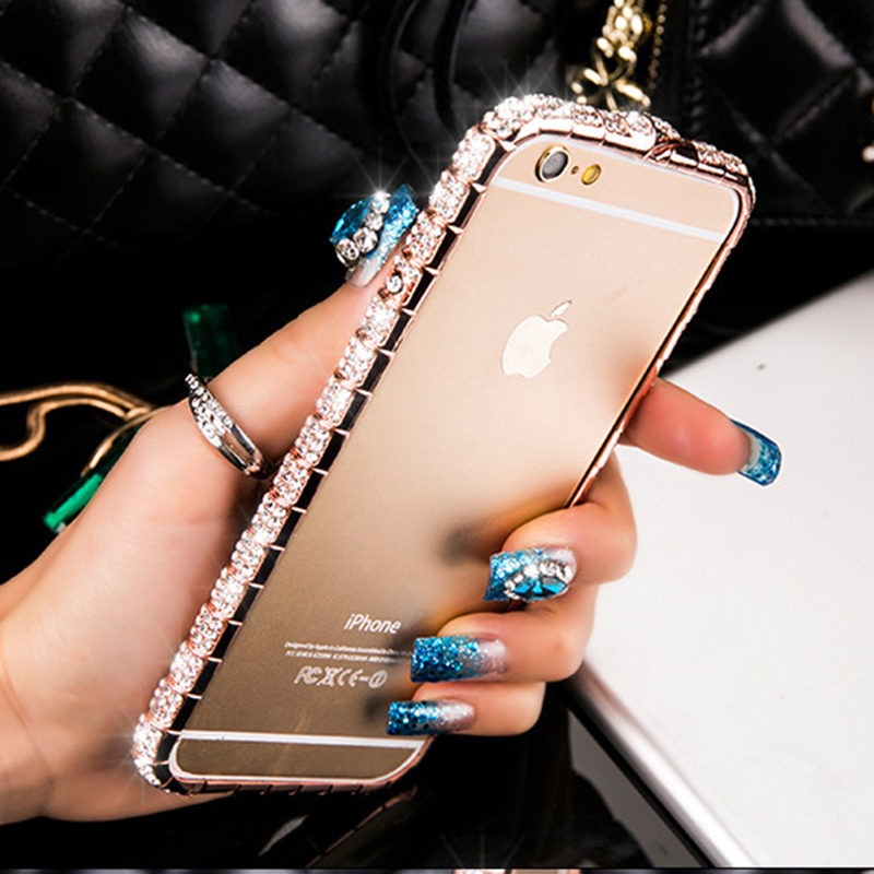 For iPhone X Luxury Bling Diamond Bumper For iPhone 8 7 6 6S Plus ...