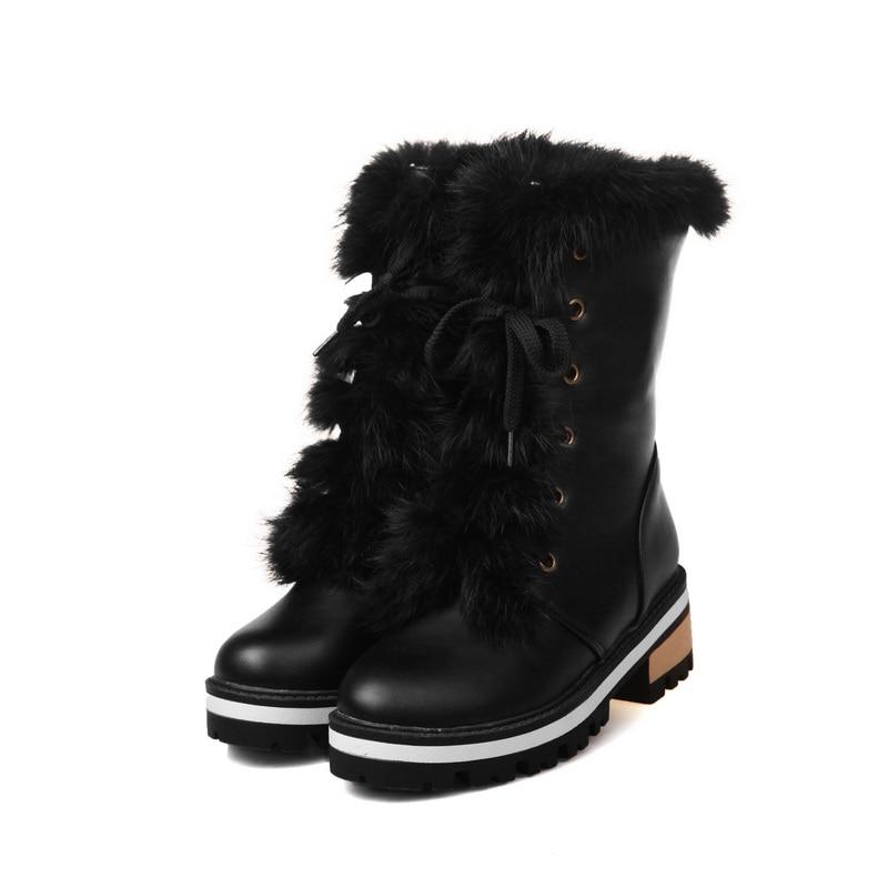 큰 크기 34-43 여성 부츠 라운드 발가락 달콤한 - 여성 신발 - 사진 2