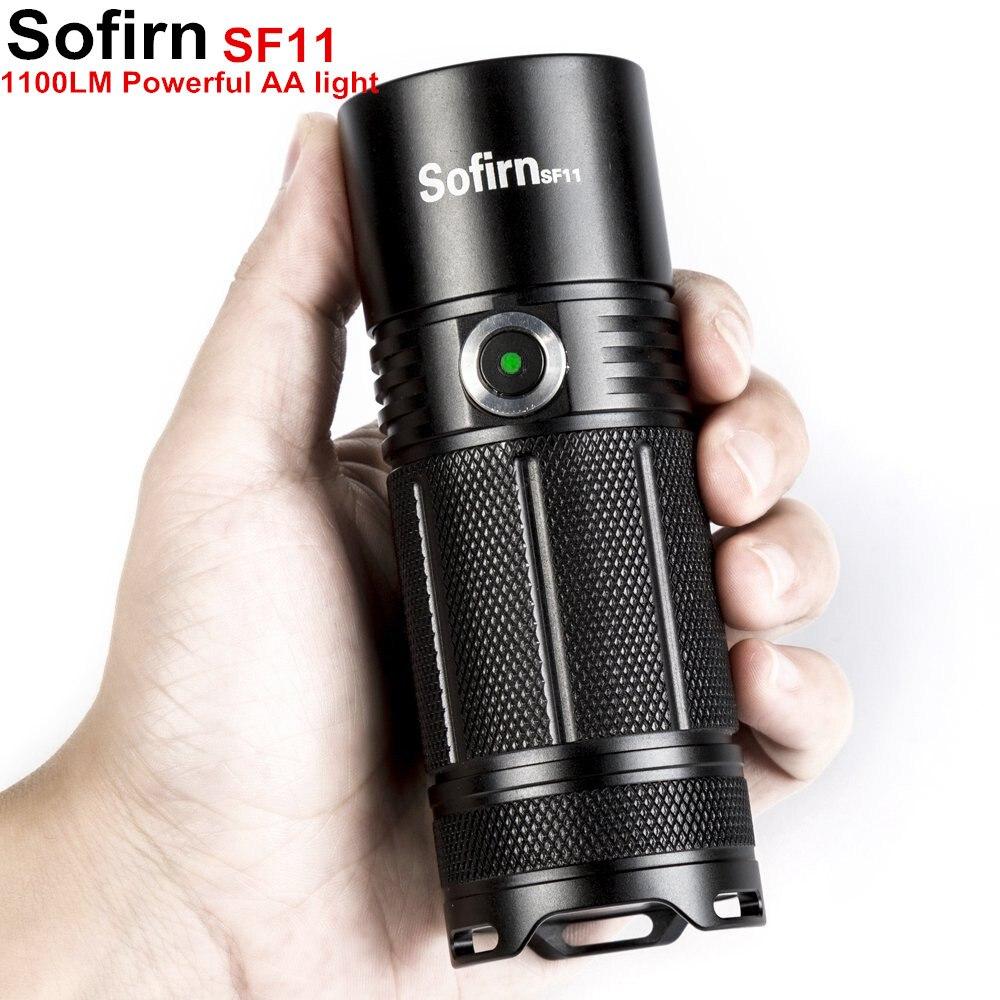 Sofirn SF11 Leistungsstarke LED taschenlampe Taktische AA Taschenlampe Cree XPL 1100lm LED High Power Licht Lampe Power-anzeige 6 Modi camping