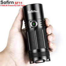 Sofirn SF11 Powerful LED flashlight Tactical AA Torch Cree XPL 1100lm LED High Power Light Lamp Indicator Power 6 Modes Camping(China)