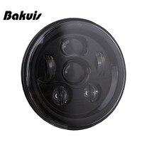Bakuis DOT Approved 7'' Black moto LED Headlights For Jeep Wrangler JK TJ LJ CJ Hummber H1 H2