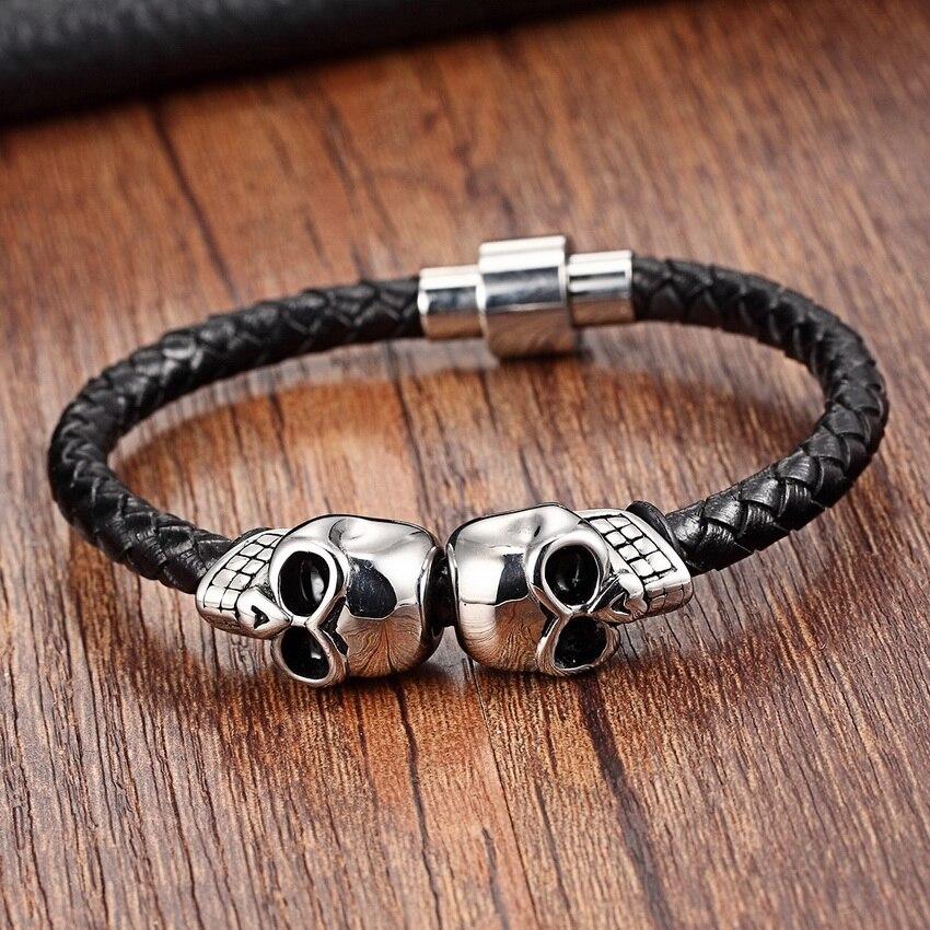 Kettenarmband Männer Magnet Schädel Edelstahl Seil Armbänder Echtes Leder Armbänder Mode Lederarmband für Frauen Männlich