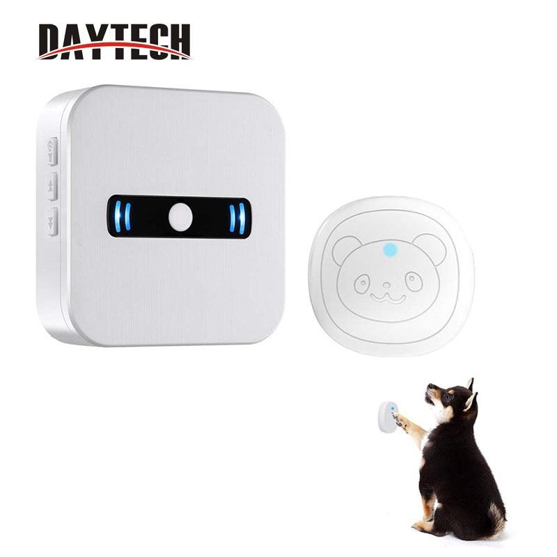 DAYTECH Wilreless Doorbell Dog Potty Door Bell LED Light Press Button Doorbells Pet Ring Bells Doggie Doorbell