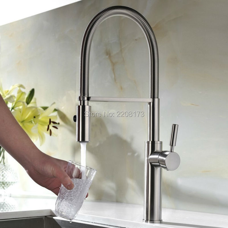 Polished Chorme Or Nickel Brushed Pull Dowm Kitchen Sink Faucet Deck Mounted Hot And Cold Water Dual Sprayer Kitchen Faucet